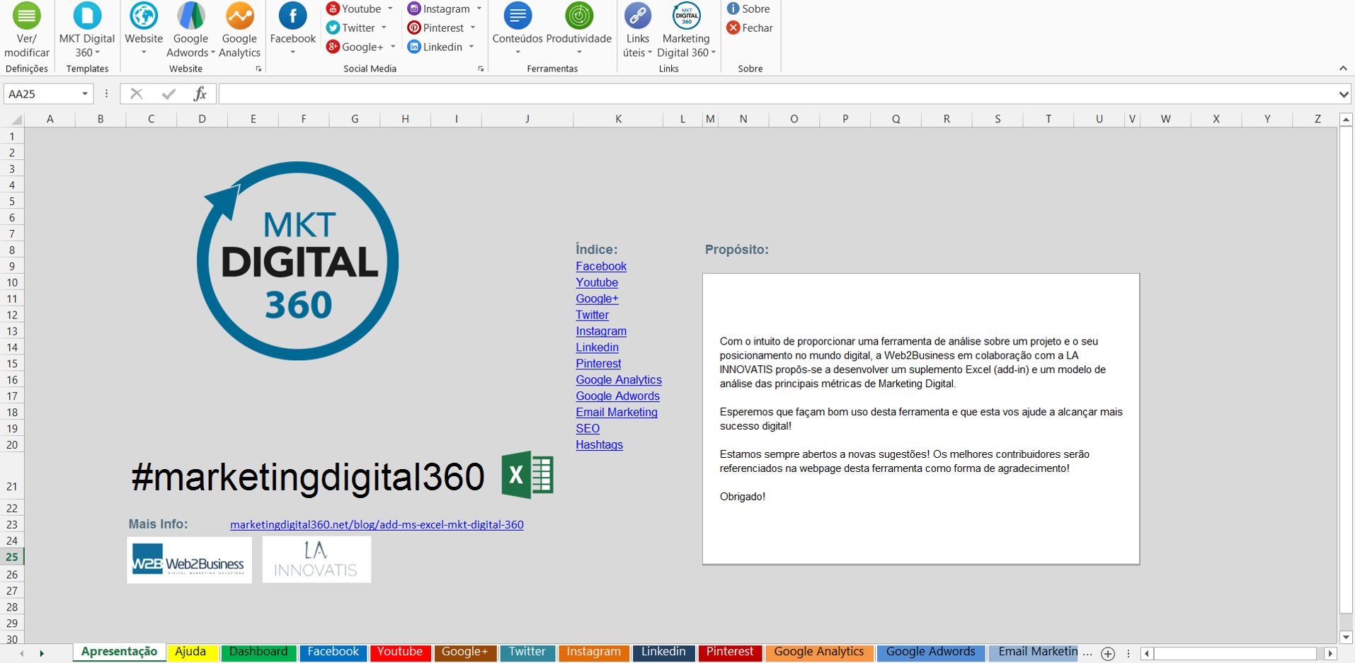 add in excel marketing digital 360