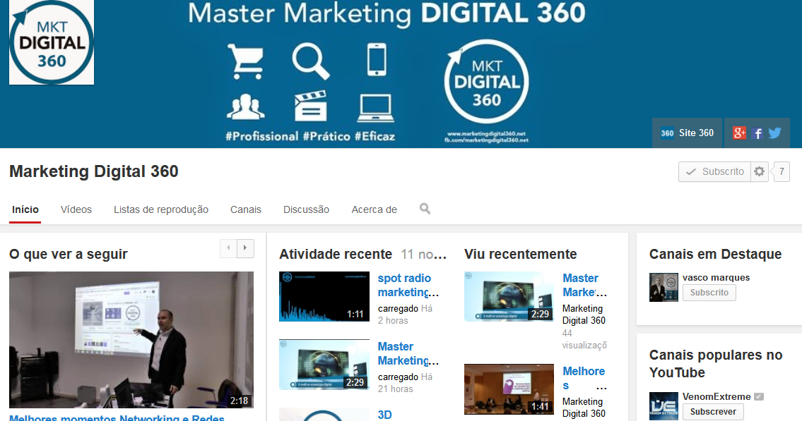 canal youtube master marketing digital 360