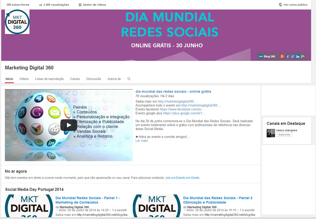 Canal Youtube Marketing Digital 360 - Dia Mundial das Redes Sociais